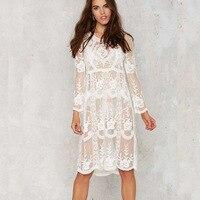 Maxi Casual Kobiety Biały Jesień Koronki Sukienka Z Długim Rękawem Sexy Przepuszczalność Floral Vestido