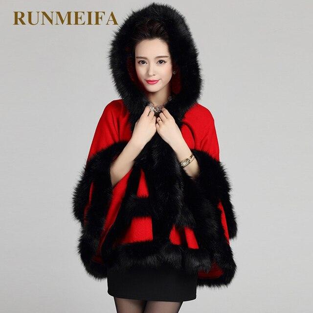[RUNMEIFA] Новый дизайн Для женщин s Накидки И ponchoes осень-зима вязаный кардиган, свитер Для женщин искусственным мехом на капюшоне кардиганы с tasse