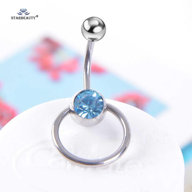 1 pc Blue Crystal Ball Belly Piercing Ombligo Navel Piercing Belly แหวนสแตนเลสสตีลแหวนเครื่องประดับของขวัญ