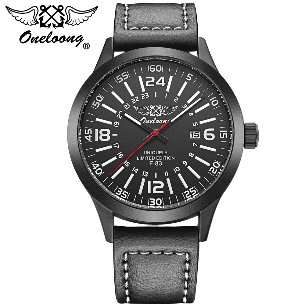Watches men ONELOONG luxury brand Quartz Clock dive 30M Casual Army Military Sports watch Genuine Leather relogio masculino weide new men quartz casual watch army military sports watch waterproof back light men watches alarm clock multiple time zone