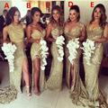 Роскошные Блестящие Платья для Подружек Невесты 2016 Милая Рукавов Пять Стилей Золото Блесток Длинные Платья Невесты Vestidos лонго FQ22