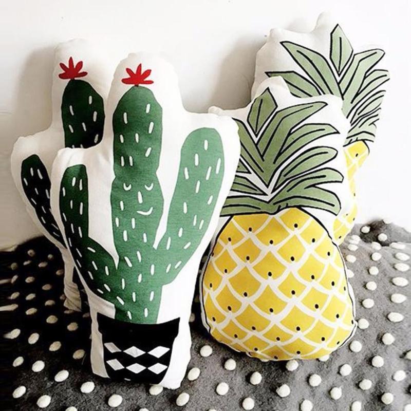 Pineapple Cactus Soft Cushion Cover Empty Pillowcase Home Sofa Chair Decorative Cushion Cases Throw Pillow Fabric Covers V3