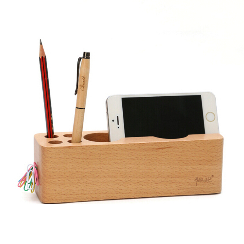 Multifunction Creative pastoral wooden pen holder desktop