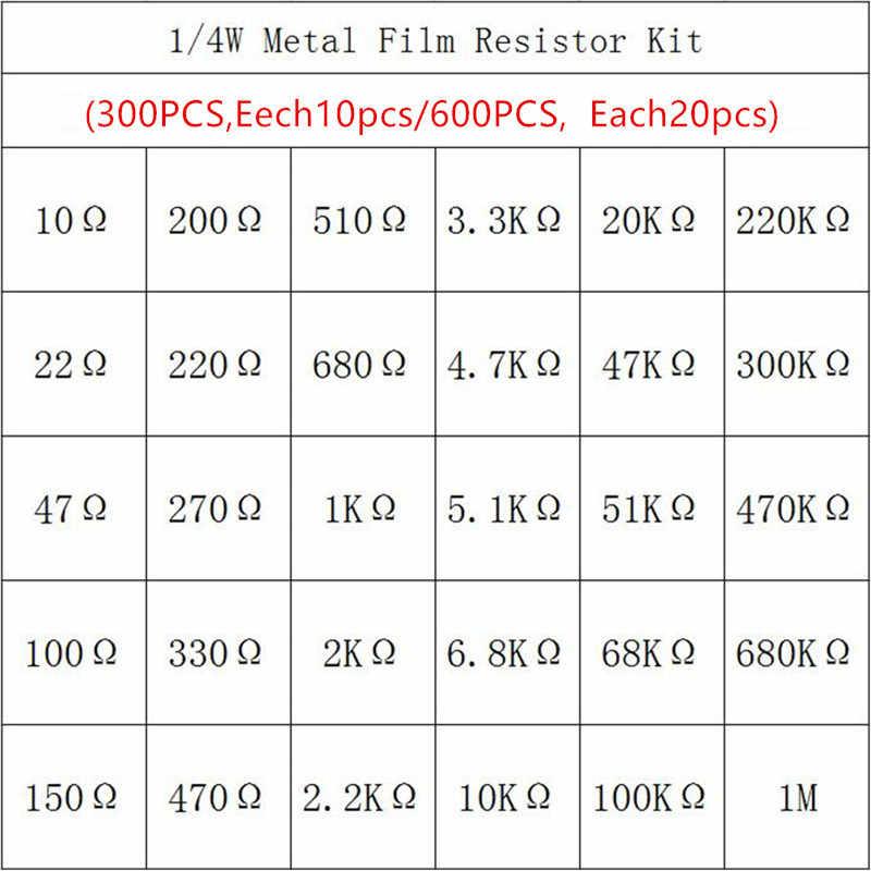 600 adet/takım 30 Çeşit 1/4 W Direnç 1% Metal filmrezistans Paketi Çeşitli Kiti 1 K 10 K 100 K 220ohm 1 M Dirençler 300 adet/takım
