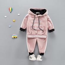hot deal buy cotton clothing sets active letter thick woolen kid suit children set baby clothing boys clothing girl clothing baby clothes