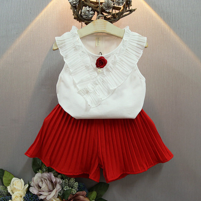Preax Kids Girl white vest blouse chiffon Girls T Shirt+ pleated Shorts Solid 2 Pieces Fashion Girls Clothing Sets