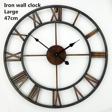 Free Shipping +18.5 Inch Oversized 3D Iron Decorative Wall Clock Retro Big Art Gear Roman Numerals Design The Clock On The Wall