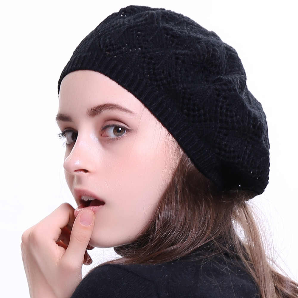 0e5ccf7a9 Geebro Women's Plain Color Knit Beret Hat Spring Casual Thin Acrylic Berets  for Women Ladies French Artist Beanie Beret Hats