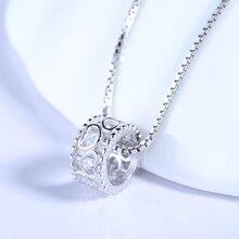 100% Real Pure 925 Joyas de Plata CZ Corazón de Cristal Colgante de Collar de La Madre y el Niño Joyería Collar de Caballo A549