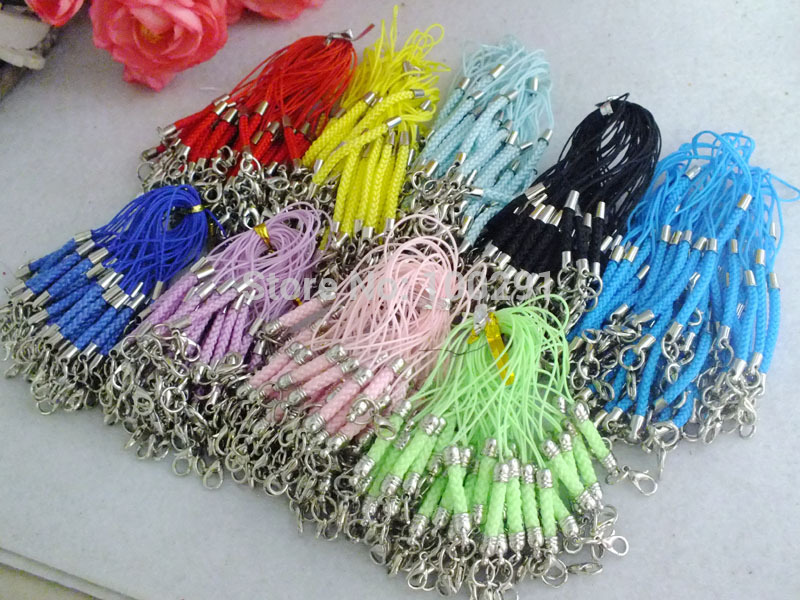 Free shipping! Bulk 500 pieces mixed colors nylon cord key chain with lobster clasp MN-2810