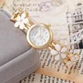 Часы Моды для Женщин Часы 2016 Роскошные Золотые Браслет Часы relojes mujer цветы Сплав Ремень Наручные Часы