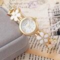 Watch Women Fashion Watches 2016 Luxury Gold Bracelet Watch relojes mujer flowers Alloy Strap Wristwatch