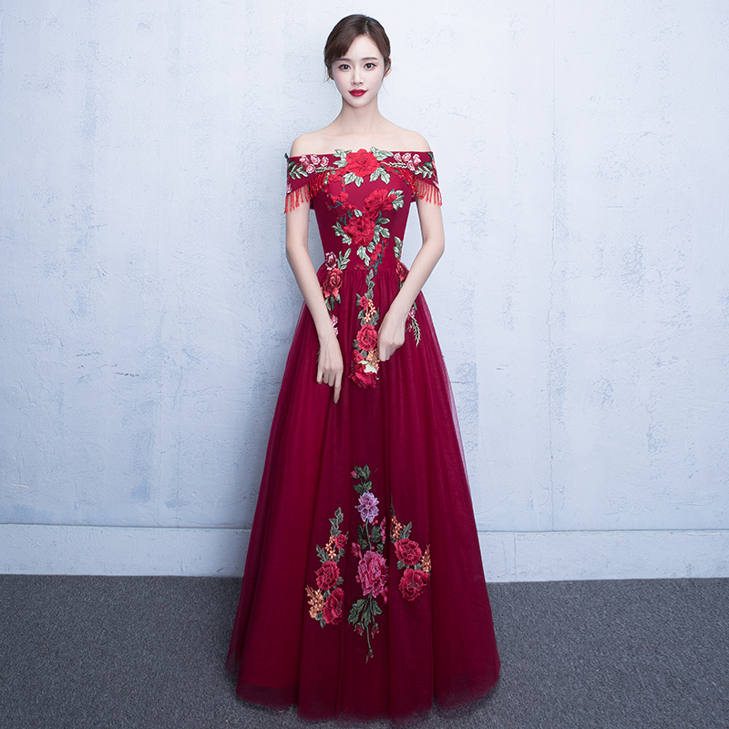 RED Sexy Off Shoulder Chinese Bride Wedding Dress Improved Women Cheongsam Vestidos Elegant Floral Embroidery Prom