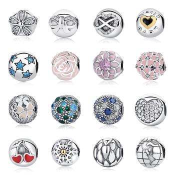 c263efac4cc5 Real 925 plata esterlina 2018 Aliexpress Venta caliente Clip encantos tapón  de seguridad cuentas Original Pandora pulseras de la joyería de DIY