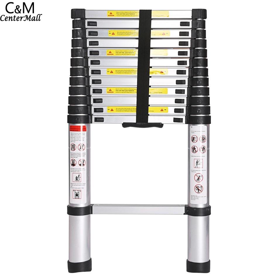 3.8M 13 Steps Portable Telescopic Ladder Folding Ladders Retractable Multifunctional Telescopic Single Straight Extension Exten цена