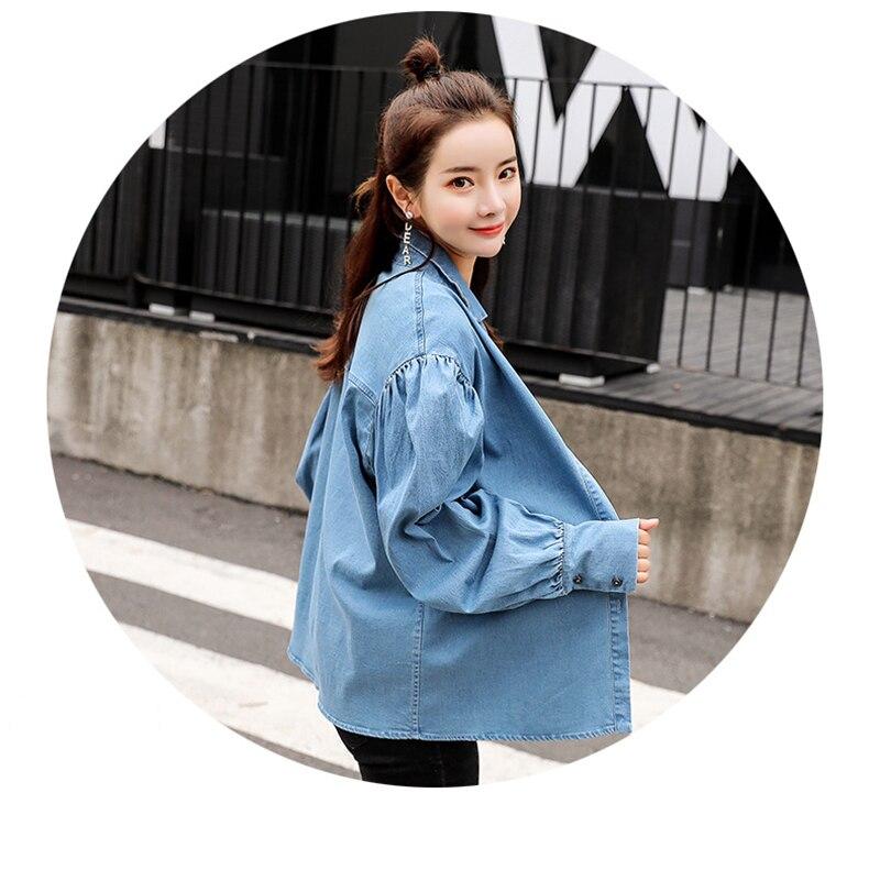 Blouse Cru Tops Mode Chemise Ressort Lanterne Jeans De Bleu Manches Casual Shirt Blouses Denim Femmes Harajuku Plus La Automne Taille 2019 qHZ7wx55