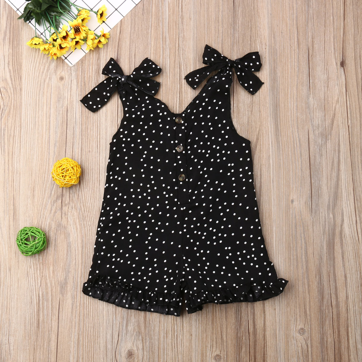 Pudcoco Toddler Baby Girl Clothes Strap Polka Dot Print Sleeveless Romper Jumpsuit One-Piece Outfit Chiffon Clothes Summer