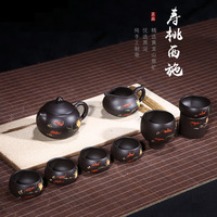 Mine Black Mud Shoutao Xishi Pot Set Mud Painting Folk Crafts Full Handmade Purple Sand Pot Teapot Top Cat Explosion