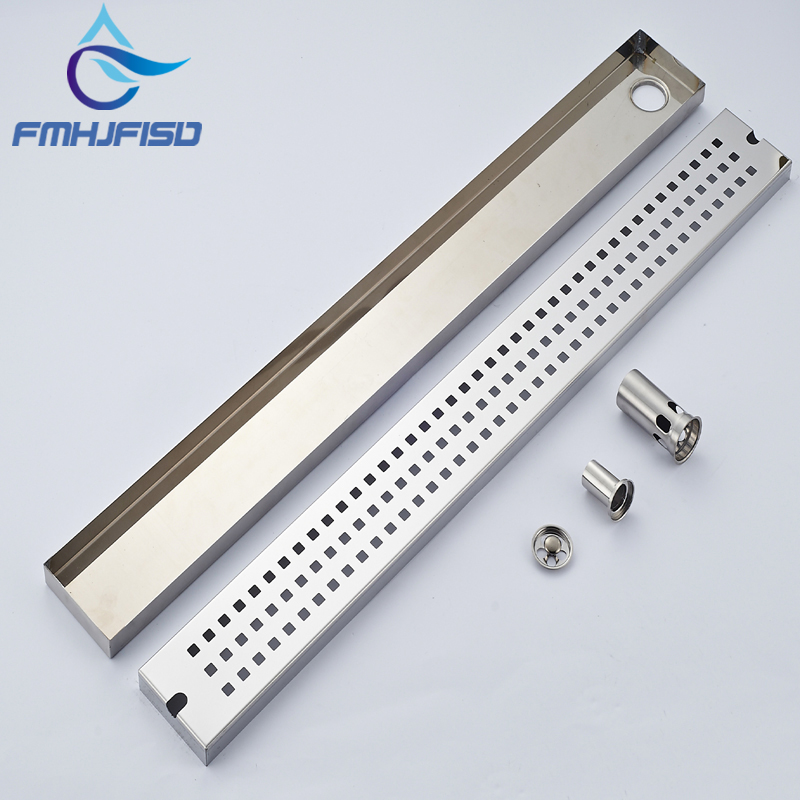 Wholesale And Retail Chrome Stainless Steel Floor Filler Bathroom Shower Grate Waste Grill Square Ground Leakage free shipping 80cm 304stainless steel floor drain bathroom kitchen shower square floor waste grate sanitary dr080