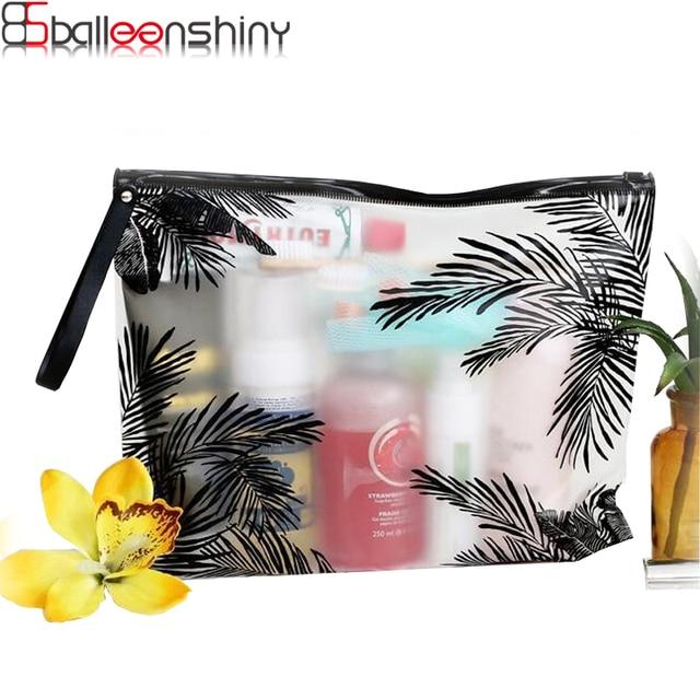 BalleenShiny PVC Make-up bag Portable Cosmetic bag Office Documents Pouch Waterproof Washing bag Eco-Friendly Ziplock bag