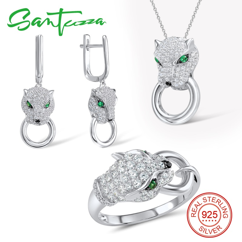 SANTUZZA Silver Jewelry Set For Women Pure 925 Sterling Silver Trendy Panther Ring Earrings Pendant Set