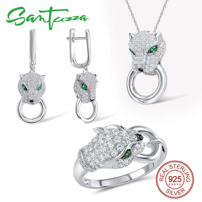 Santuzza prata conjunto de jóias para as mulheres puro 925 prata esterlina na moda panther anel brincos pingente conjunto branco cz moda jóias