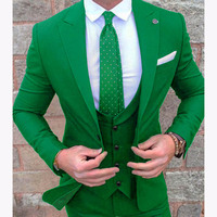 2019 green Groom Tuxedos Green Prom Wedding Men Suit Slim Fit 3 pieces terno masculino Formal Suits For Mens (Jacket+Pants+Vest)