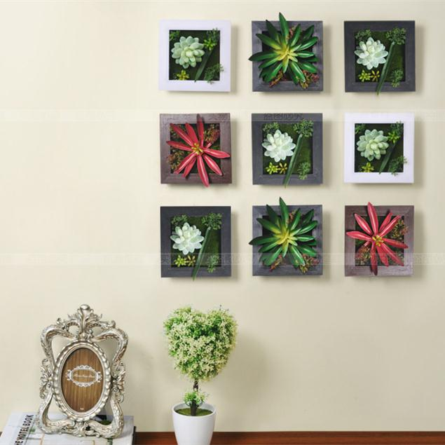 3d house adornment metope artificial succulent plants wall