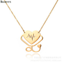 Fashion Heart Stethoscope Necklace Doctor Femme Medical Necklaces Heartbeat Love Choker Pendant Collier For Women Jewelry
