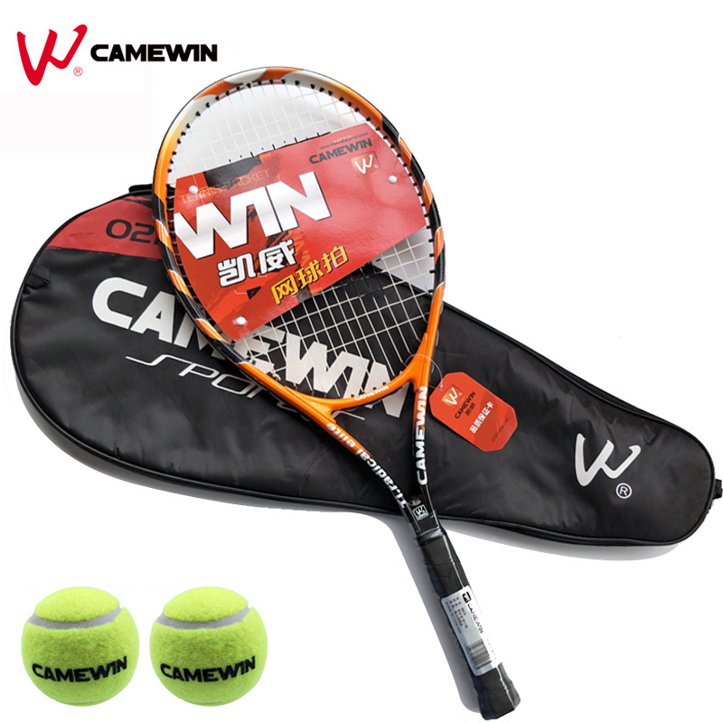 Beach Aluminum Alloy Tennis Racket 1 Pcs Camewin Brand Tennis Racket With Bag (2 Tennis Balls Free Gift) Color: Black Orange Evident Effect