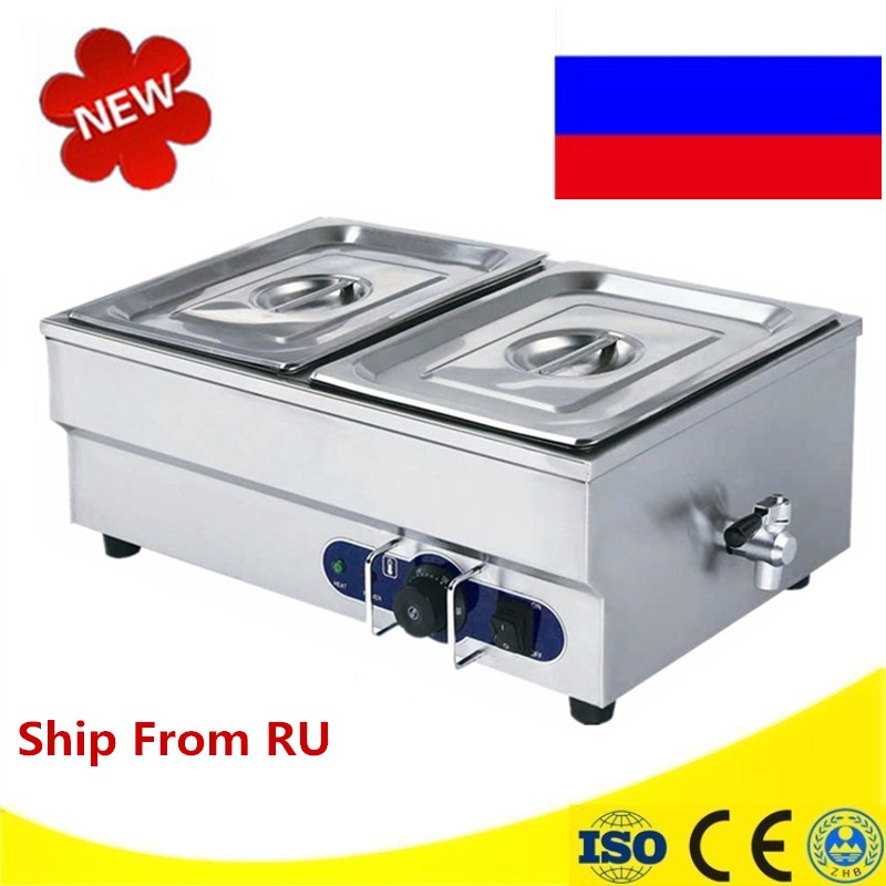 220V Electric Table Top 2 Tanks Bain Marie Electric Soup Pool Commercial Insulation Deep Soup Stove