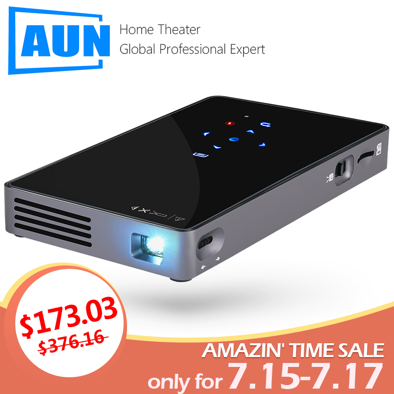 AUN MINI Projector D5S, Android 7.1 (Optional 2G+32G) WIFI Bluetooth, Portable LED Projector, Support 1080P, Travel mate Beamer