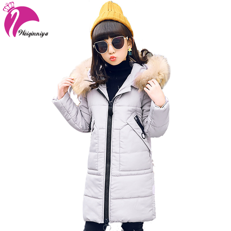 weiqinniya Girls Down Parkas Jackets Winter Kid Parka Fur Hooded Jacket For Girls Fashion Children Down Long Jacket Girl Jackets children girl jackets winter down coat jacket for girl fashion children fur hooded thick cotton down warm solid kid parka jacket