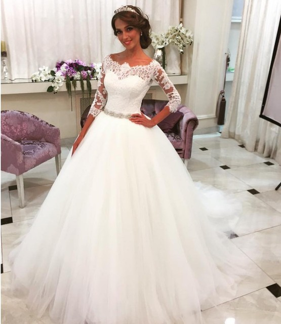Ball Gown Boat Neck Lace 3 4 Sleeve Wedding Dresses Ivory Tulle ...