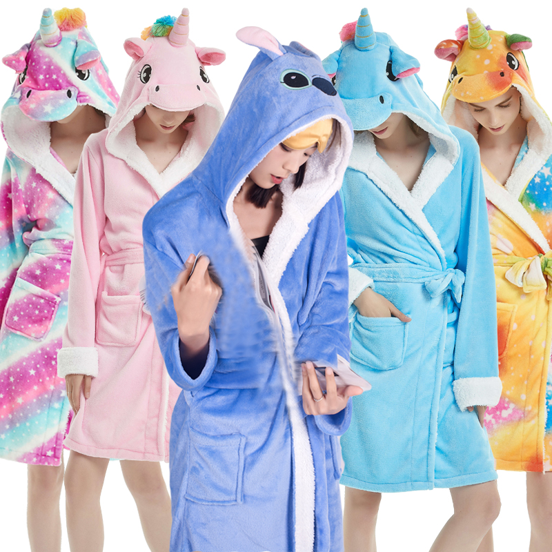 Adults Winter Coral Velvet Hooded Unicorn Robe Women Flannel Dressing Gown Panda Stitch Animal Bath Robes Men's Long Bathrobes