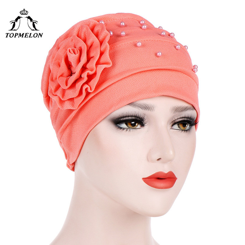 TOPMELON Elegant Hijab Beading Floral Turban Dubai Arab Islamic Style Caps Women's Fashion Hats Muslim Clothing Accessories