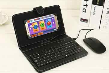 more photos db859 d484f Black Mini Wired Keyboard General Wired Keyboard Flip Holster Case For  Andriod OTG Mobile Phone 4.2''-6.8'' Tablet Laptop PC