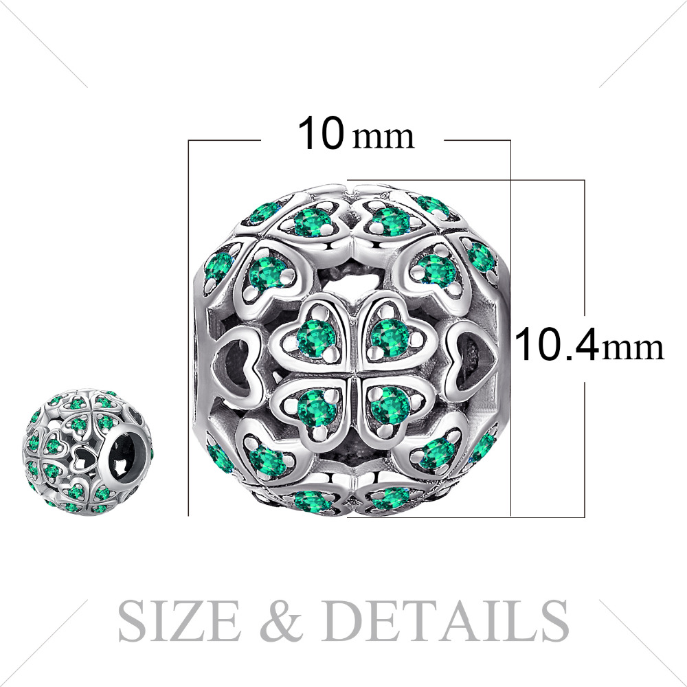JewelryPalace Four Leaf 925 Sterling Silver Beads Charms Silver 925 Original For Bracelet Silver 925 original For Jewelry Making in Beads from Jewelry Accessories