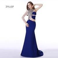 ZYLLGF Long Elegant Evening Dresses 2017 Fishtail One Shoulder Long Sleeve Oriental Evening Formal Dress With Crystals ZL82