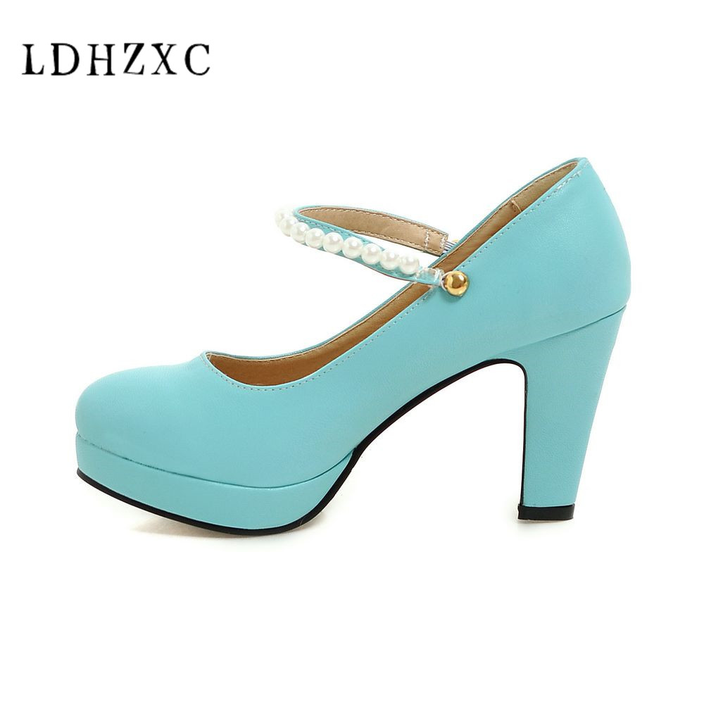 LDHZXC big size 33-43 square toe shallow buckle strap pumps shoes woman square heel women high heels shoes spring autumn