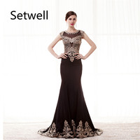 Setwell Vintage Mermaid Evening Dresses Illusion Neckline Black Evening Gowns High Quality Golden Applique Prom Dress