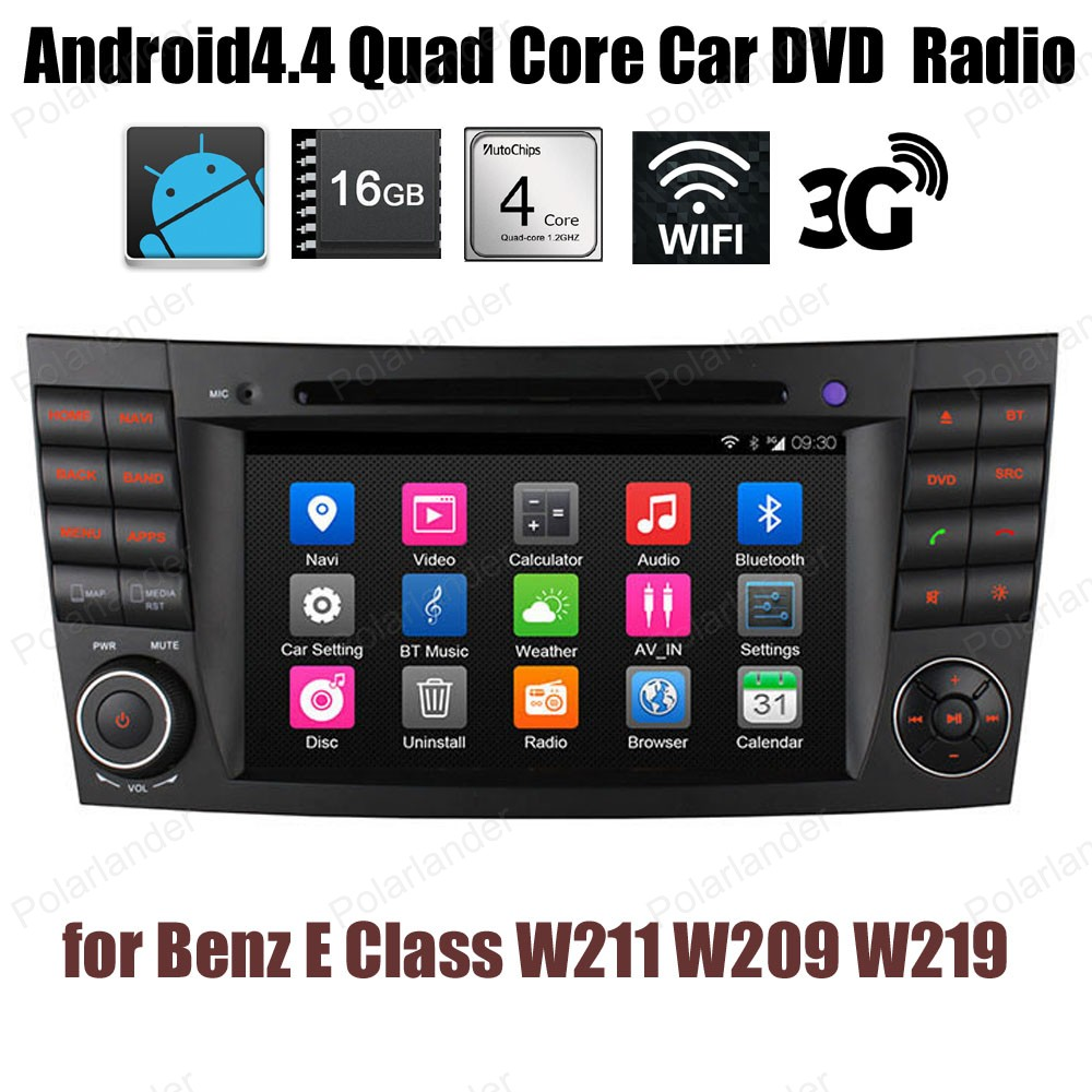 Android4.4 Car DVD Quad Core Support DTV BT 3G WiFi GPS DAB+ TPMS FM AM radio For Benz E Class W211 W209 W219