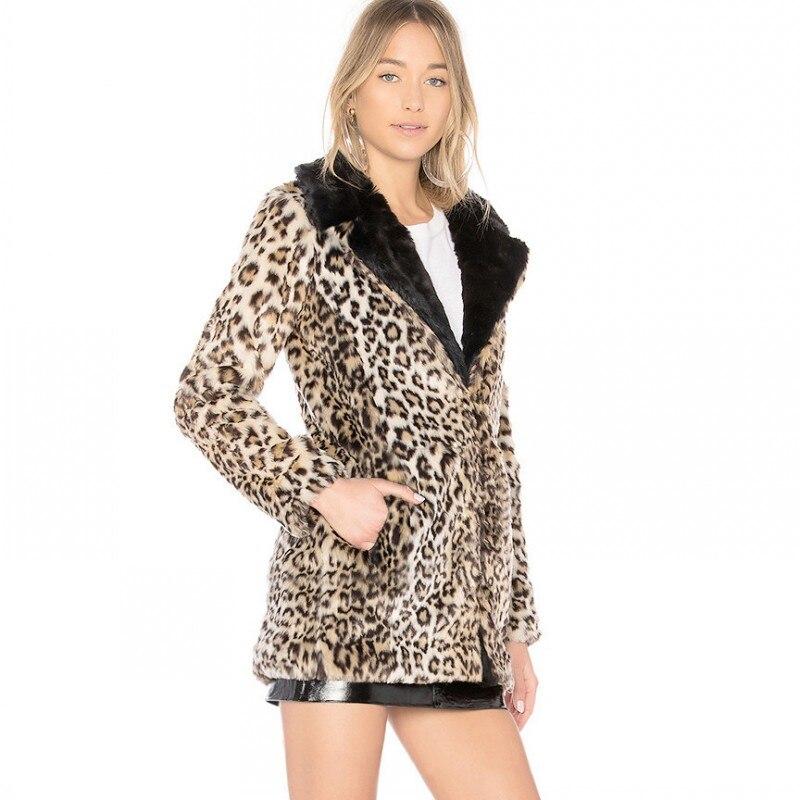 Style À Imprimé Manteau Vente Mode Ami Hiver Faux Revers Femelle Veste Fourrure Chaude Petit De Léopard Femmes Manteaux Automne Col Leopard Xwvw7