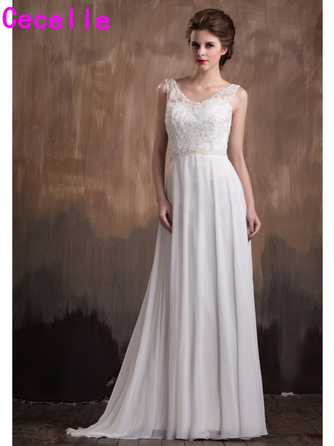 A Line Beaded Chiffon Beach Wedding Dresses V Neck Sleeveless Women Bridal Gowns Informal Reception