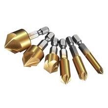 6 шт. набор сверл для зенковки 1/4 ''с шестигранным хвостовиком HSS 5 Флейта 90 градусов по центру, набор инструментов для дерева, быстрое долото 6 мм-19 мм