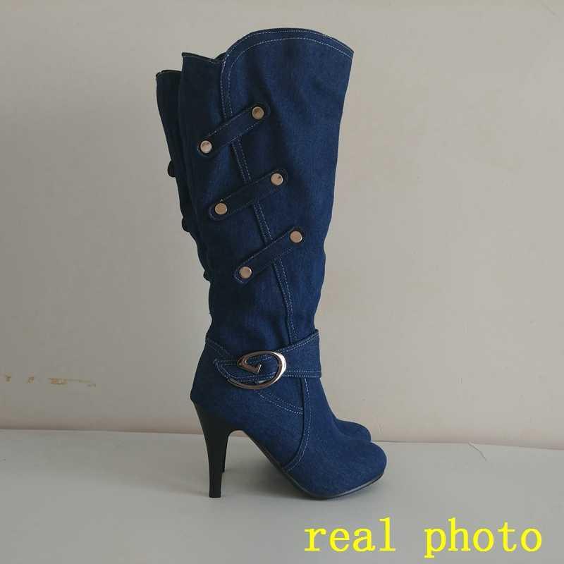 ORCHA LISA/Женская обувь; джинсовые ботинки из джинсовой ткани; женские сапоги до колена; большие размеры 12 Ботинки на тонком каблуке; сезон осень для женщин, Botas C816