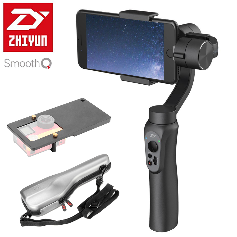 In Stock Zhiyun Smooth Q 3-Axis Handheld Gimbal Stabilizer with Adapter for Gopro 5 4 3+ for iPhone 7 6S 6 Plus Samsung S8 S7 yuneec q500 typhoon quadcopter handheld cgo steadygrip gimbal black