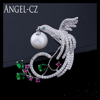 Unique Women Freshwater Pearl Brooches Luxury Multicolor CZ Bird Brooch Pins Lucky Phoenix Jewelry For Mothers