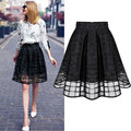 New Women Long Skirt Transparent Tulle Skirts Womens High Waist Pleated Midi Skirts Organza Saia Feminino Tutu Skirt Black