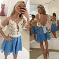 2017 New Fashion Pretty Girl's Lace Short Sleeve Bow A-Line Short/Mini Dress Formal Gown robe de cocktail Dresses Custom Size